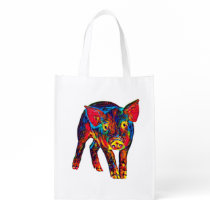 Bright Psychadelic Piglet Grocery Bag