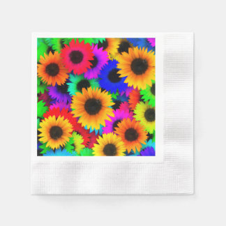 Bright Psychedelic Flower Child Hippy Pattern Paper Napkin