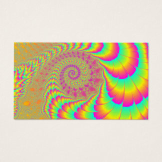 Bright Psychedelic Infinite Spiral Fractal Art Business Card