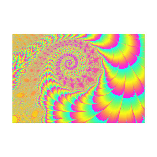 Bright Psychedelic Infinite Spiral Fractal Art Canvas Print