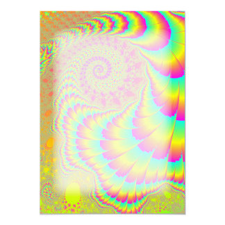 Bright Psychedelic Infinite Spiral Fractal Art Card