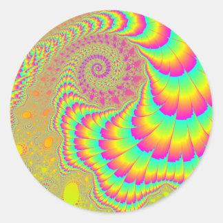 Bright Psychedelic Infinite Spiral Fractal Art Classic Round Sticker