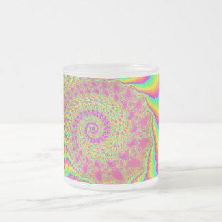 Bright Psychedelic Infinite Spiral Fractal Art Frosted Glass Coffee Mug