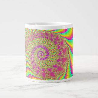 Bright Psychedelic Infinite Spiral Fractal Art Giant Coffee Mug