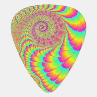 Bright Psychedelic Infinite Spiral Fractal Art Guitar Pick