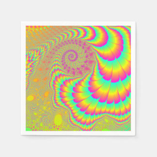 Bright Psychedelic Infinite Spiral Fractal Art Paper Napkin