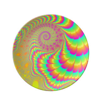 Bright Psychedelic Infinite Spiral Fractal Art Plate