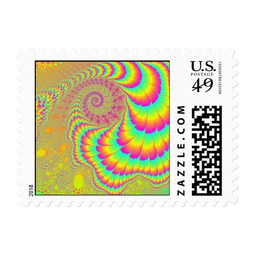 Bright Psychedelic Infinite Spiral Fractal Art Stamp