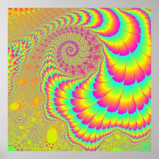 Bright Psychedelic Infinite Spiral Fractal Art Poster