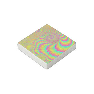 Bright Psychedelic Infinite Spiral Fractal Art Stone Magnet