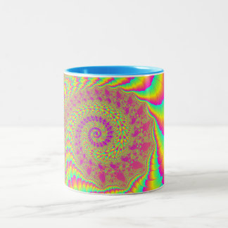 Bright Psychedelic Infinite Spiral Fractal Art Two-Tone Coffee Mug