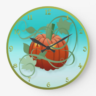 Bright Pumpkin Large Clock
