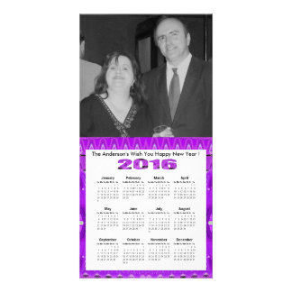 Bright Purple 2016 yearly calendar Card