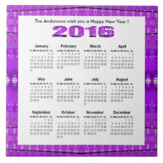 Bright Purple 2016 yearly calendar Ceramic Tile