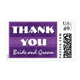 Bright Purple and White Damask Thank You Wedding Postage