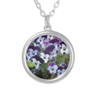 Bright_Purple_And_White_Pansies,_ Silver Plated Necklace
