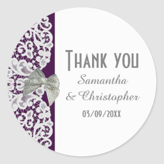 Bright purple and white traditional lace thank you classic round sticker