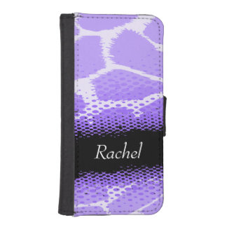 Bright purple animal print named girls flap case iPhone 5 wallet case