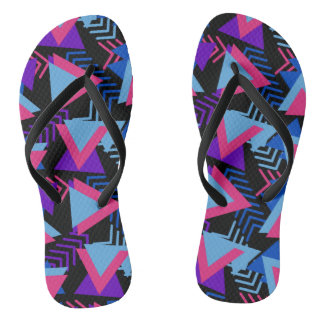 Bright Purple, Blue, Pink 80's Background Pattern Flip Flops