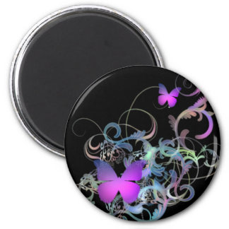 Bright Purple Butterfly 2 Inch Round Magnet
