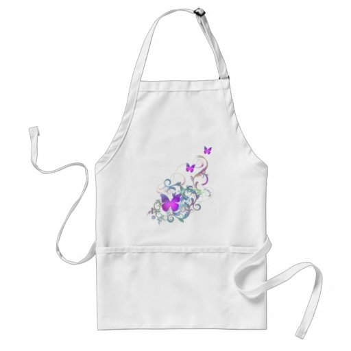 Bright Purple Butterfly Adult Apron
