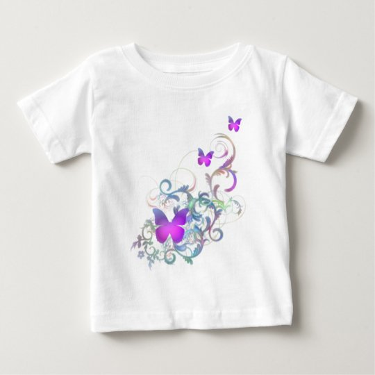 Bright Purple Butterfly Baby T-Shirt