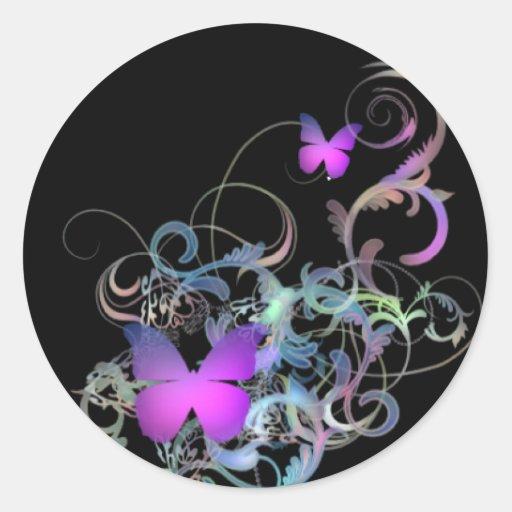Bright Purple Butterfly Classic Round Sticker