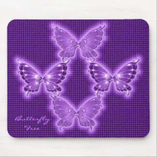 Bright Purple Butterfly Pattern Mouse Pad