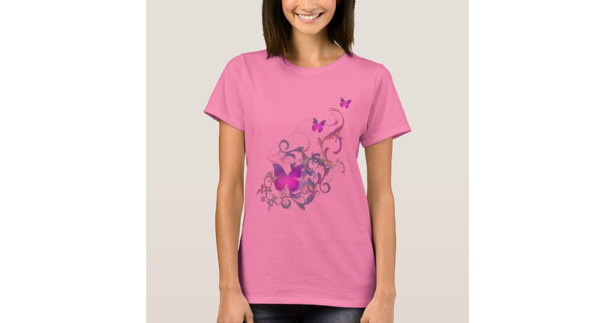 Bright purple butterfly t shirt zazzle for Bright purple t shirt