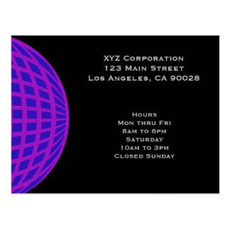 Bright purple circle globe business corporate postcard
