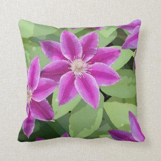 Bright purple Clematis square pillow