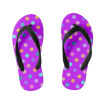 Bright purple confetti polka dots summer flip flop