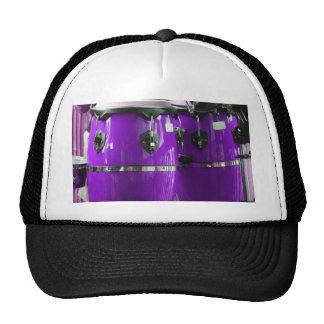 Bright purple conga drums photo trucker hat