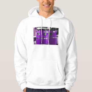 Bright purple conga drums photo hooded pullover