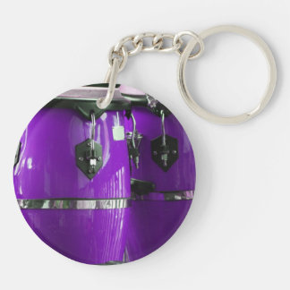 Bright purple conga drums photo keychain