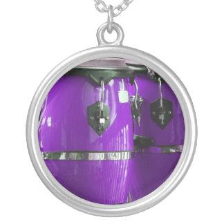 Bright purple conga drums photo round pendant necklace