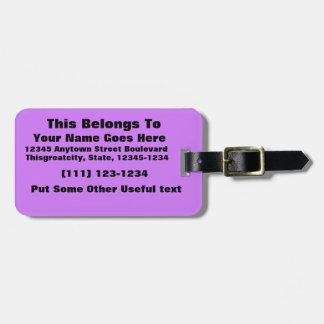 bright purple do it yourself design template bag tag