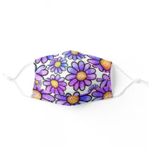 Bright Purple Doodle Flower Girly  Adult Cloth Face Mask