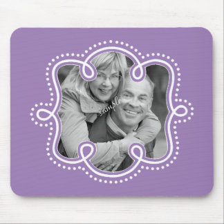 Bright Purple Doodled Frame Photo Mouse Pad