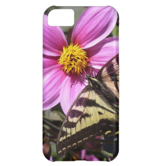 Bright Purple Flower with Butterfly on Petals Case For iPhone 5C