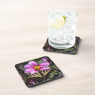 Bright Purple Flower with Butterfly on Petals Coasters