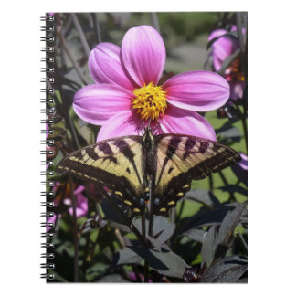 Bright Purple Flower with Butterfly on Petals Spiral Notebook