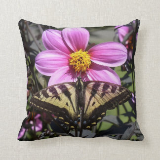 Bright Purple Flower with Butterfly on Petals Throw Pillow