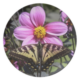 Bright Purple Flower with Butterfly on Petals Plate