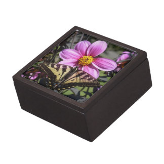 Bright Purple Flower with Butterfly on Petals Premium Gift Box