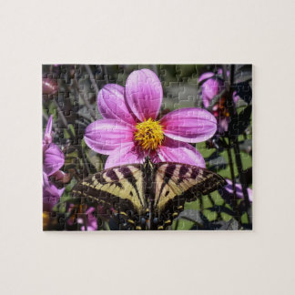 Bright Purple Flower with Butterfly on Petals Puzzle