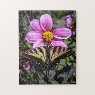 Bright Purple Flower with Butterfly on Petals Jigsaw Puzzle