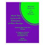 bright purple green mod circle wedding personalized flyer