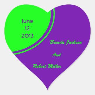 bright purple green mod circle wedding heart sticker