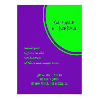 "bright purple green mod circle wedding 4.5"" x 6.25"" invitation card"